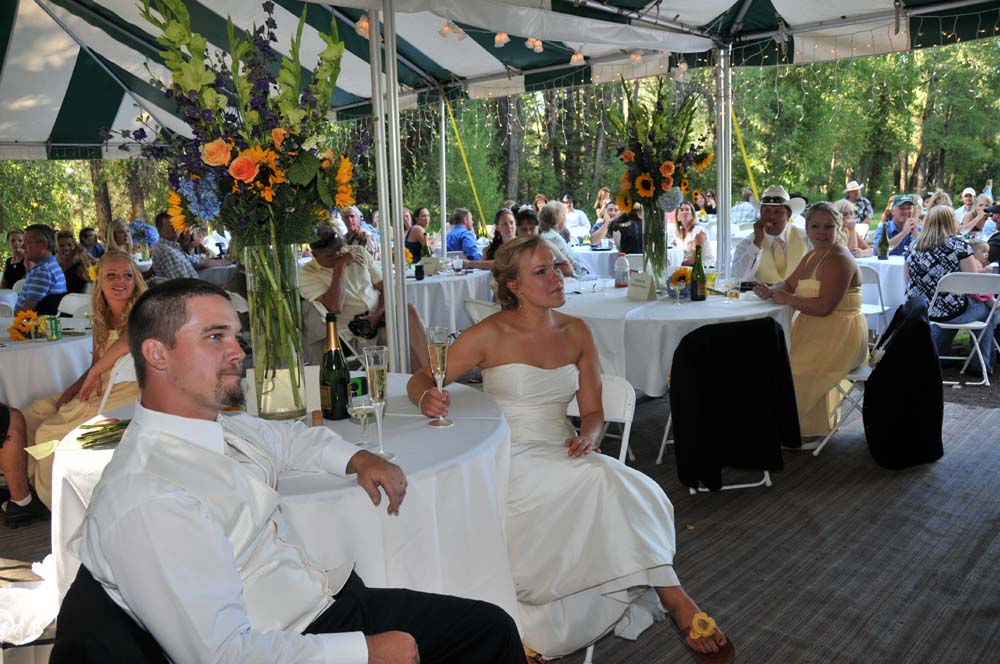 Bride and Groom listening to speeches with guests.