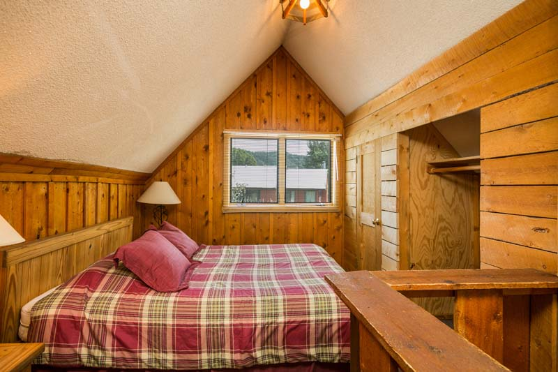 Hiker cabin loft bedroom with queen bed.