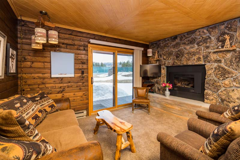 Lost Ranger cabin living room with fireplace.