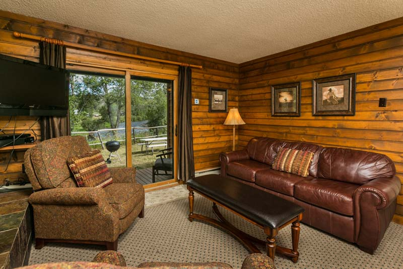 Eagles Nest cabin living room with view of Elk River.