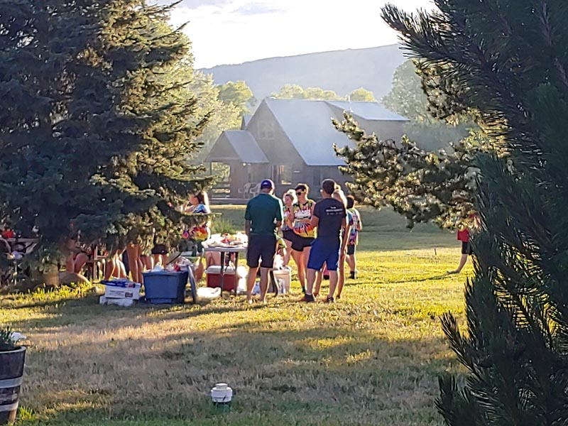 Outdoor gathering during the summer.