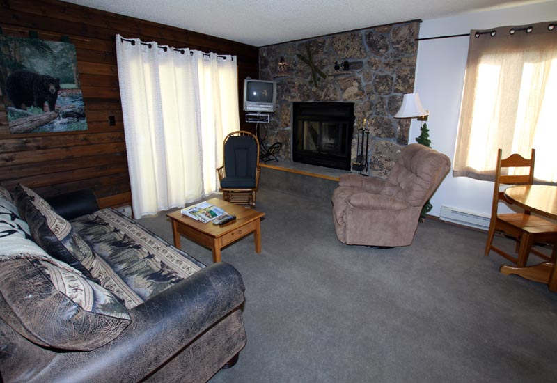 Mustang cabin living room with fireplace